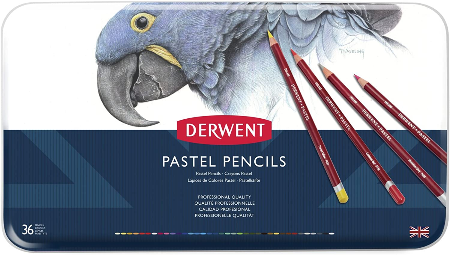 Derwent Pastellstifte in Metallbox, 36 Stifte