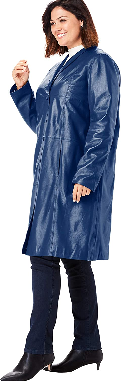 Jessica London Women's Plus Size Leather Swing Coat Leather Jacket