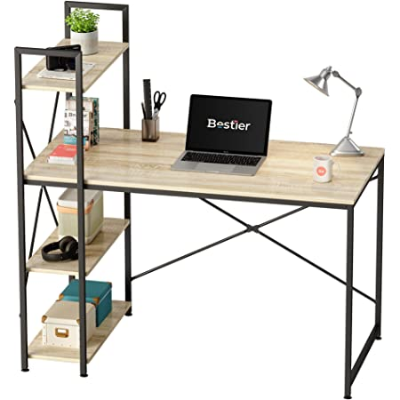 Bestier Computer Desk with Storage Shelves 47 Inch Home Office Desk Writing Table (Oak, 47 Inch)