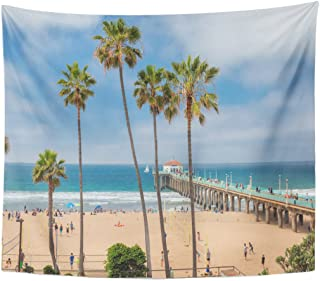 Emvency Tapestry Manhattan Beach and Pier at Day Time in Southern Home Decor Wall Hanging for Living Room Bedroom Dorm 50x60 inches