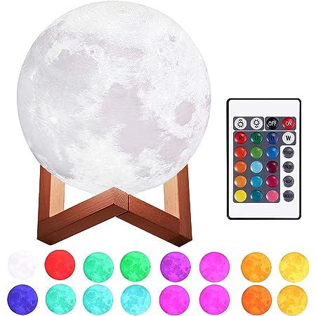 """Justech 3D Lampe Lune Diamètre 5.9""""/15cm Dimmable 4 Modes Contrôle 16 Couleur RGB Veilleuse Lune Rechargable USB avec Support en Bois pour Chambre Salon Café Anniversaire Noël"""