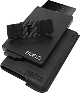 FIDELO Minimalist Wallet for Men - Slim Credit Card Holder RFID Mens Wallets and Leather Case