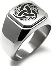 Stainless Steel Triskelion Odin's Horn Knot Viking Symbol Square Flat Top Biker Style Polished Ring
