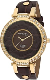 Q&Q Women's Brown Dial Leather Band Watch - Da99J102Y, Analog Display