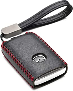 Vitodeco Genuine Leather Smart Key Fob Case Cover Protector with Leather Key Holder for 2019-2021 Mazda 3, Mazda 3 Hatchba...