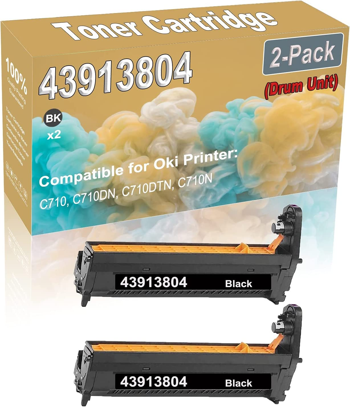 Compatible Drum Unit Replacement for 2-Pack (Black) Oki 43913804 Drum Unit Fit for Oki C710, C710DN, C710DTN, C710N Printer (High Capacity)