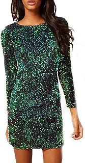 abd92806d60 Tomayth Mujer Otoño Elegante Mini Vestido Ajustado de Moda Lentejuela Manga  larga V Profunda Vestido Cortas