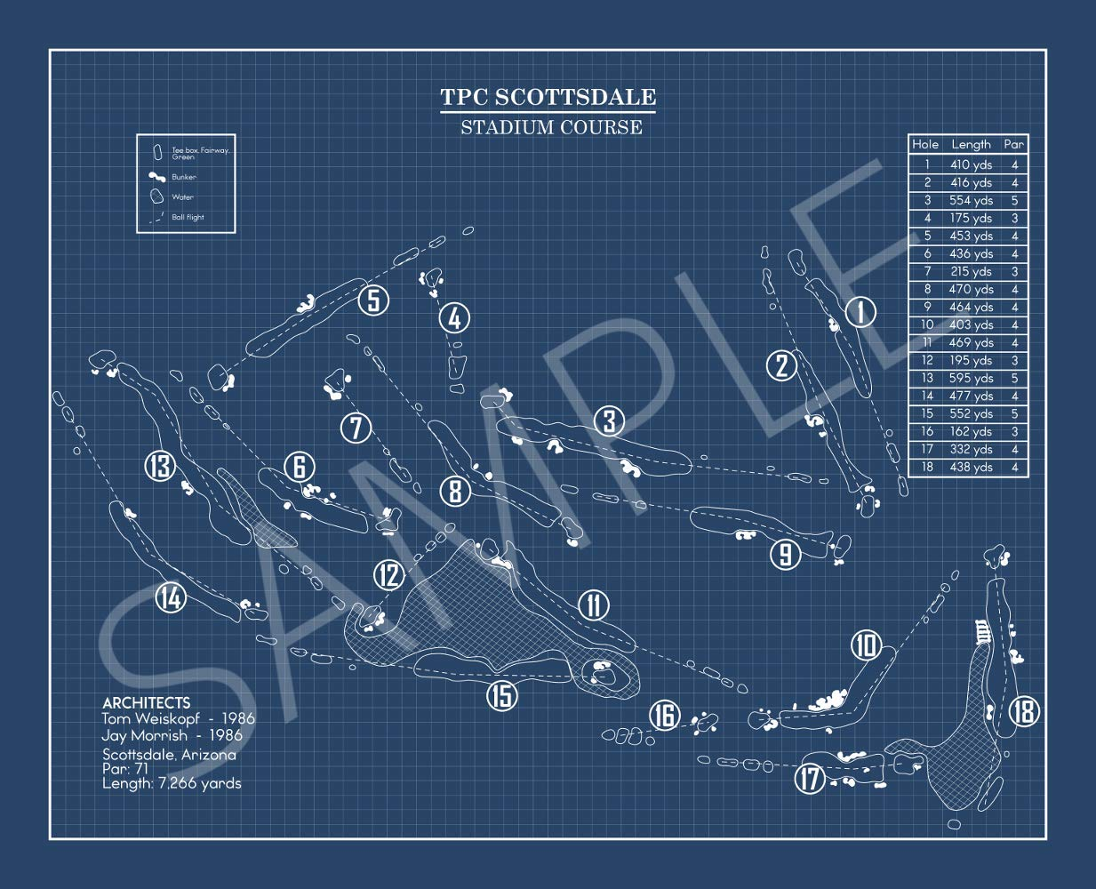 TPC National products Scottsdale Stadium Blueprint Course Print OFFicial