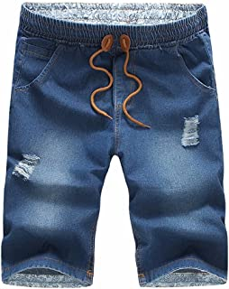 16647c325e SUSIELADY Men's Jean Denim Shorts Classic Five Pocket Casual Ripped  Distressed Straight Fit Hole Men 2018