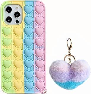 حافظة Ffish لهاتف آيفون 11 (6.1 بوصة)، ضغط فقاعات للتغلب على التوتر وغطاء مضاد للقلق مع كرة شعر + حامل هاتف خلوي، الحب