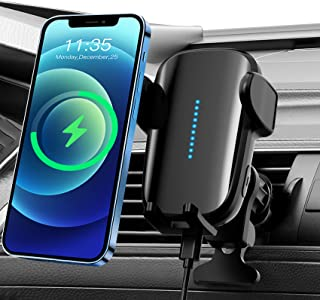Wireless Car Charger, 15W Qi Fast Charging Sensor Auto Clamping Car Phone Holder Mount,Air Vent Wireless Phone Charger for...