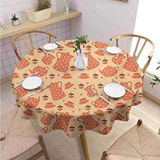 VICWOWONE Soft Round Tablecloth Tea Party Suitable for Everyday use Old Fashioned Tea Set with Delicious Creamy Cakes with Cherries,Round - 39 inch Orange Pale Orange Cream