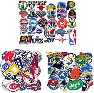 93 Pcs MLB NBA NFL Sports Stickers Packs,30 Baseball Stickers+31 Basketball Stickers+32 Football Stickers,Team Logo Sticke...
