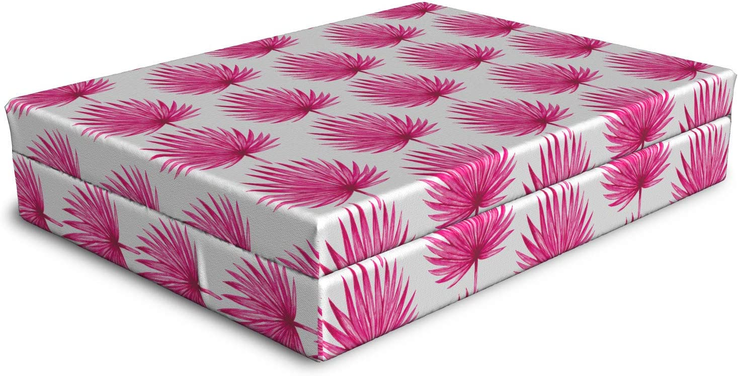 Ambesonne Quality inspection Nippon regular agency Pink and White Dog Hawaii Botanical Jungle Patter Bed