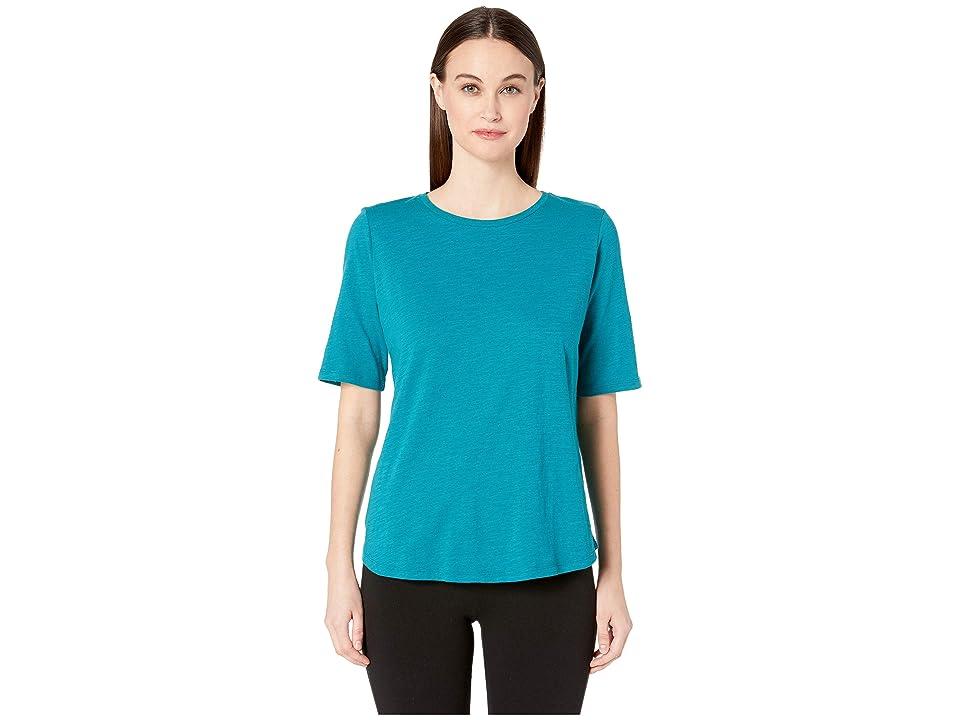 Eileen Fisher Organic Cotton Slub Round Neck Elbow Sleeve Top (Teal) Women