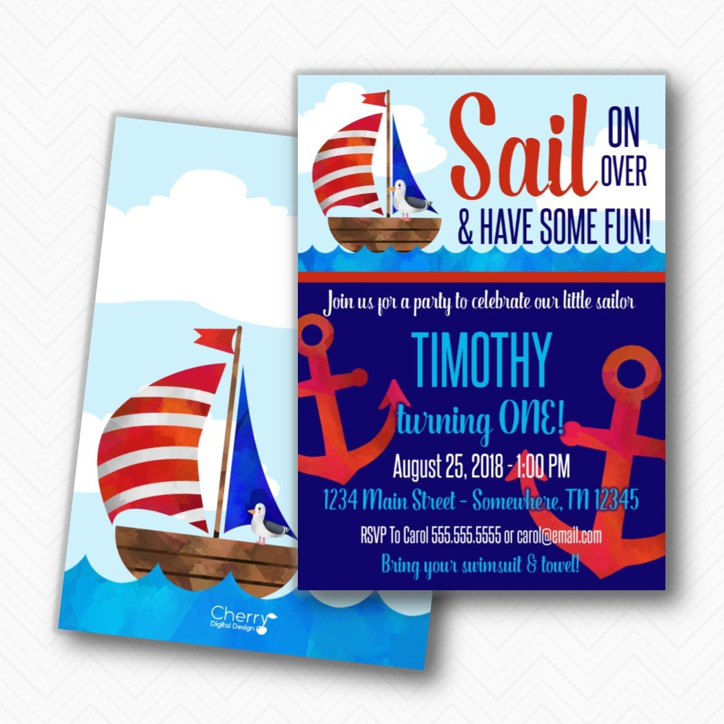 Sailboat Nautical sale First Finally popular brand Birthday Included Envelopes Party