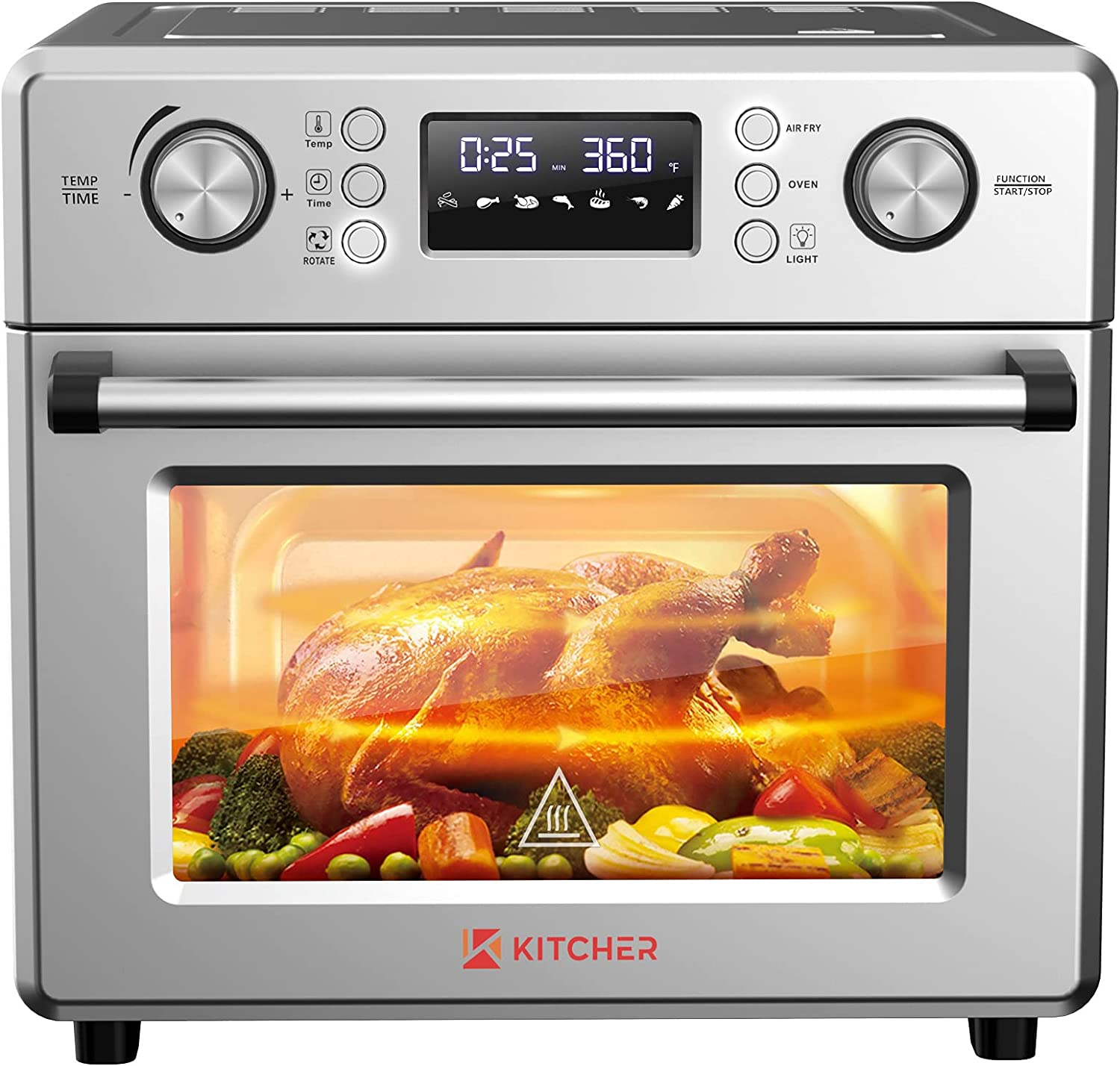 KITCHER 26.5QT Air Fryer Oven, Countertop Toaster Oven 6 Slice Convection Ovens with 77 Recipes 5 Accessories 14 Presets for Bake, Air Fry, Roast,Toast, Pizza, Dehydrate, Stainless Steel Silver