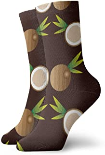 Seamless Background With Coconuts Unisex Crew Socks Cotton Socks Fun Novelty Socks