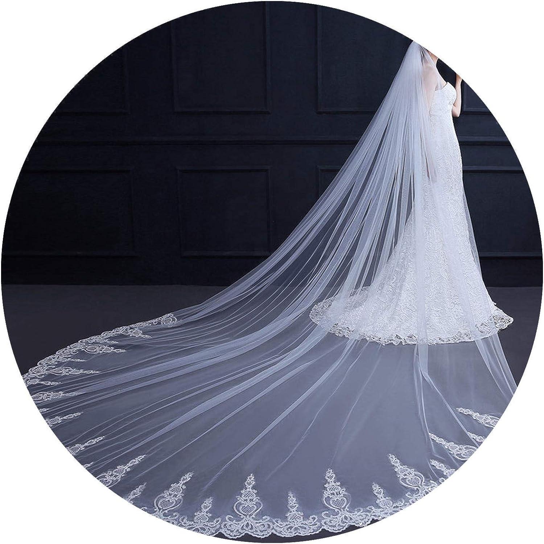 3 Meter White Ivory Cathedral Wedding Veil Long Lace Edge Bridal Veil with Comb Wedding Accessories Bride Veu Veu de noiva,WHITE,350cm