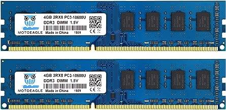 DDR3 1333 Mhz 2Rx8 PC3 10600U, 240-pin 8GB DDR3 PC3-10600 Desktop Memory Kit (2x4GB), Motoeagle 1.5V CL9 Dual Rank UDIMM Module Upgrade Chips