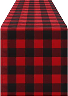 SilphCo. Red Buffalo Plaid Table Runner - for Indoor or Outdoors - Great for Holidays, Family Dinners, Parties
