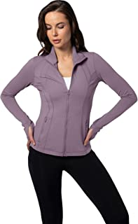 Womens Ultra Soft Lightweight Full Zip Yoga Jacket with Zipper Pockets