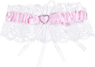 TiaoBug Women's Wedding Lace Garters Satin Bow Crystal Heart Rhinestone Bridal Garter