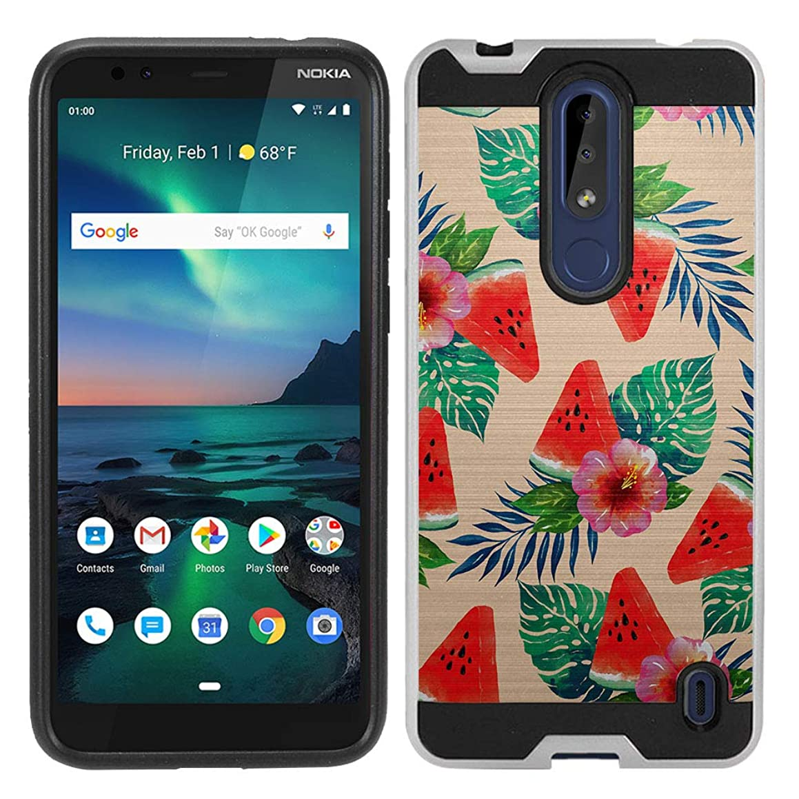 FINCIBO Case Compatible with Nokia 3.1 Plus Cricket, Brushed Hybrid Hard Protector Case Cover TPU for Nokia 3.1 Plus Cricket (NOT FIT International) - Watermelon Tropical Plants Orange Pastel