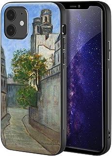Maurice Utrillo iphone 12 Mini用ケース/ファインアート携帯電話ケース/高解像度ジクレーレベルUV複製プリント、携帯電話カバー(Ferou 通り S Vezemi Kostela St Sulpice-Leta)