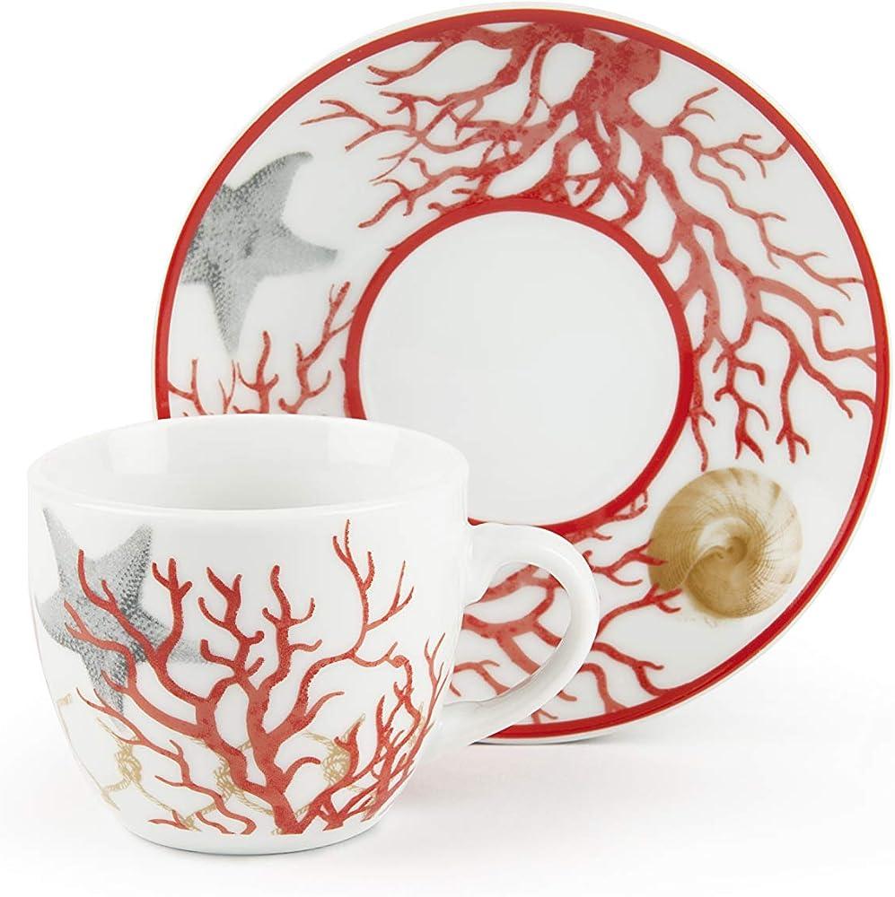 Excelsa coral set 6 tazzine da caffè con piattino, in porcellana 62717