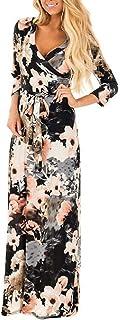 Landove Vestito Lungo Elegante Donna Cerimonia Abito Maniche 3/4 Vestiti Stampa Floreale Scollo a V Casual Mode Bohemian A...