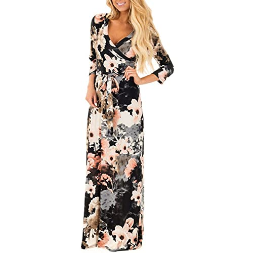 b260324739455 Women Summer Floral Boho V-Neck Evening Party Beach Dress Plus Size Ladies  Casual Long