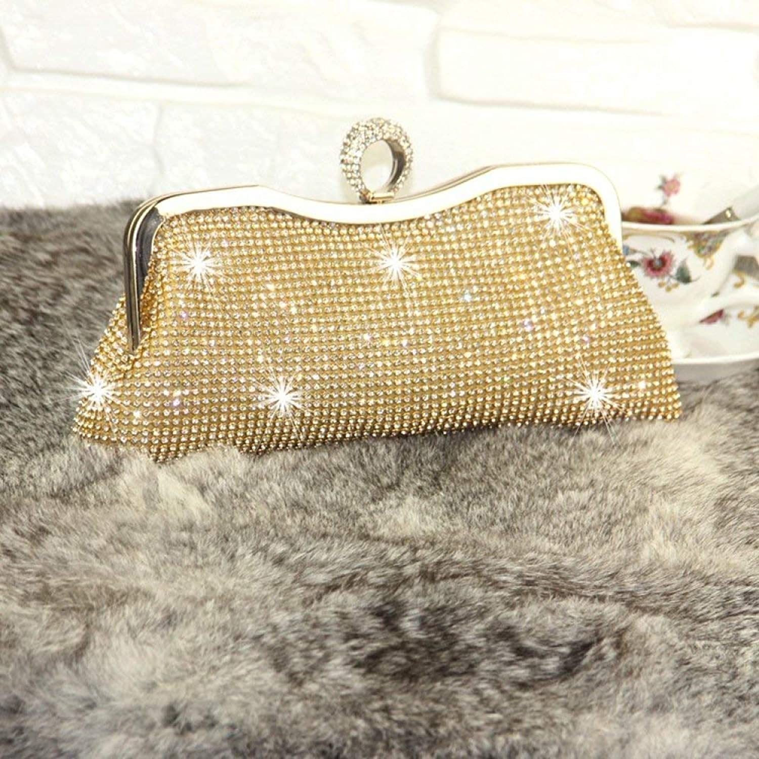 Huasen Evening Bag Diamond Dinner Bag  Celebrity Diamond Embroidered Clutch Annual Party Dress Bag  Bridal Bridesmaid Party Bag Party Handbag (color   golden, Size   Evening Package)