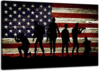 Vintage Soldiers Military Army US USA American Flag Canvas Wall Art Prints Thin Red Line Artwork Home Decor Picture for Bedroom Living Room Flag Paintings Posters Framed Ready to Hang (24