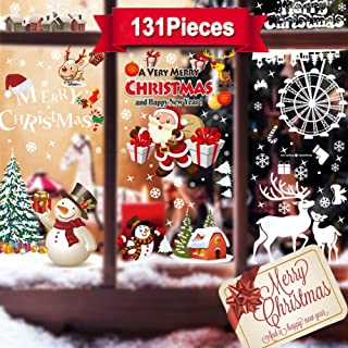 Rongyuxuan Christmas Snowflake Window Clings Stickers for Mirror Glass Door, Xmas Decals Decorations Reusable Large Santa Claus Reindeer Snowman Decals for Holiday Party (131 PCS, 6 Sheet)