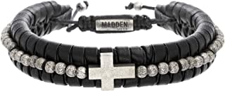 Men's Faux Leather Adjustable Bracelet with Beaded Cross...