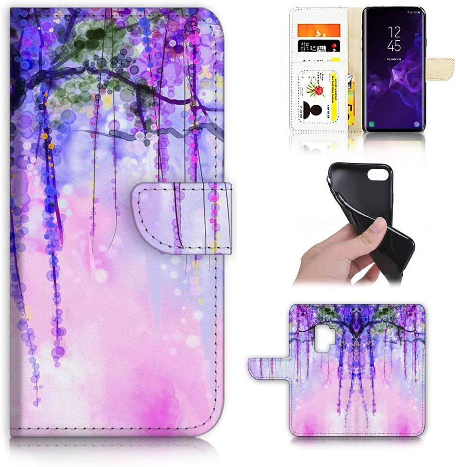 for Samsung S9, Galaxy S9, Designed Flip Wallet Phone Case Cover, A22016 Art Paint Wisteria Flower 22016