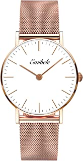 Emibele Women Stainless Steel Quartz Watch, Fashion 50M Water Resistant Wrist Watch