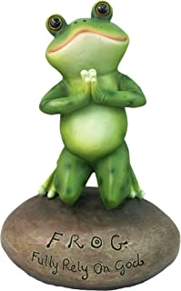 DWK – Blessed Assurance – Inspirational Cute Praying Frog On Rock Statue..