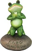 DWK - Blessed Assurance - Inspirational Cute Praying Frog On Rock Statue Novelty Collectible Frog Figurine Christian Religious Home Garden Patio Office Décor, 6.5-inch