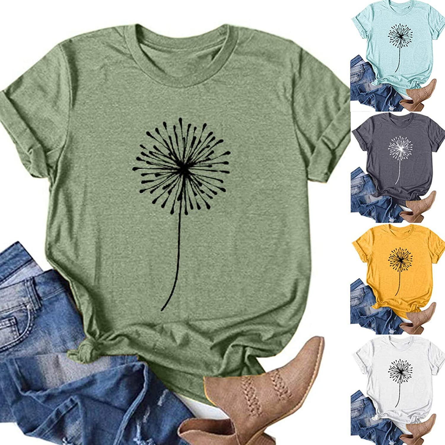Beppter Women Summer Tops Trendy Casual Short Sleeve Sunflower Graphic Tees Workout Shirts Loose Fit Blouses Tshirts(A-Blue,XX-Large)