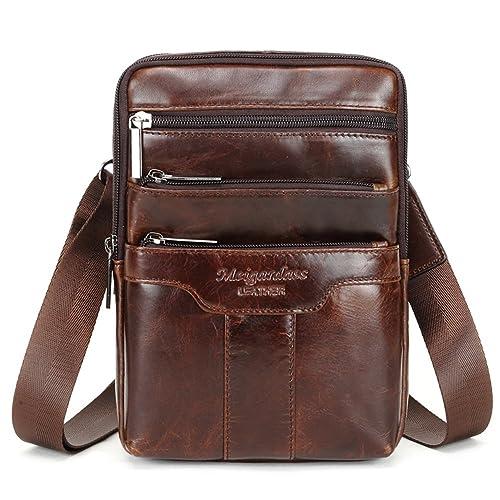 767b0fc79 Langzu Men's Genuine Leather Cowhide Vintage Messenger Bag Shoulder Bag  Crossbody Bag (Dark Brown)