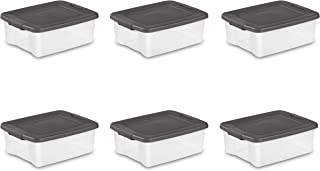 Sterilite 19363V06 25 Quart/24 Liter Shelf Tote, Clear Base with Flat Gray Lid and Latches, 6-Pack