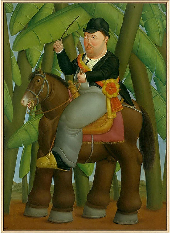 IFUNEW Cuadros Decorativos Hombre montado a Caballo por Fernando Botero Pinturas de Arte Famosas Bailarina Lienzo Arte Carteles e Impresiones imágenes clásicas 60x90cm