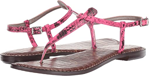 Neon Pink Snake Print Leather
