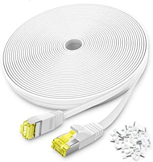 AoforzTech Ethernet Cable Cat6 50ft - White Flat High Speed Internet Network Cable Cable Clips - Computer Cable Snagless R...