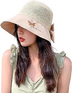 Womens Wide Brim Sun Hat Beach Cap Lightweight Foldable/Packable Summer Fisherman's Hats UV Protection UPF50+ Decorative Bow