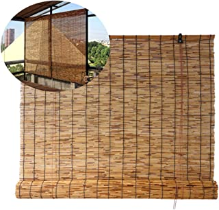 YUANJJ Roller Shades - Natural Bamboo Blinds - Vintage Roman Shutter - Reed Material, Indoor/Outdoor/Patio Decoration, Customizable (60-145cm Width)