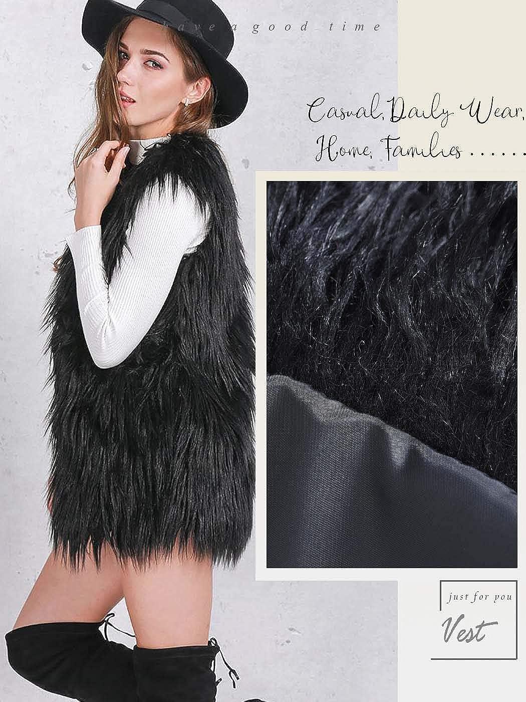Ushiny Fur Vest Sleeveless Lightweight Autumn Faux Fur Vests Winter Warmer Jacket Coat for Women and Girls