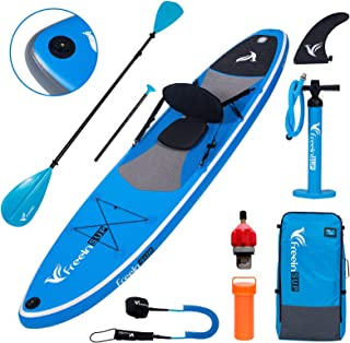 Freein Stand Up Paddle Board Inflatable SUP 10'/10'6 Long with Kayak Conversion Kit,Package∣Kayak seat,Adj 2 in 1 Paddle,B...